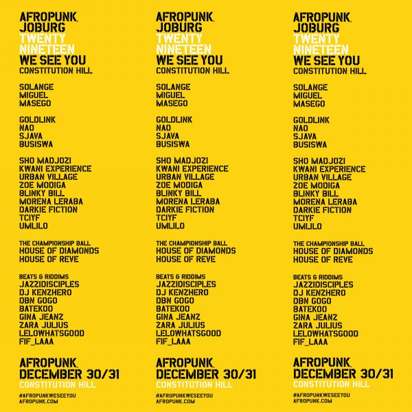 AFROPUNK ANNOUNCES CHANGES TO THE 2019 JOBURG FESTIVAL